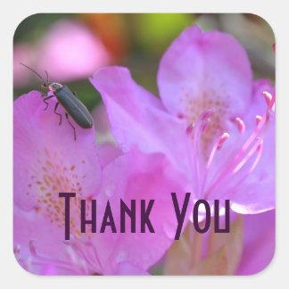 Pink Azalea Flower Insect Thank You Sticker