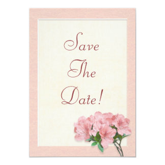 Pink Azalea Flowers & Frame Save The Date Wedding Card