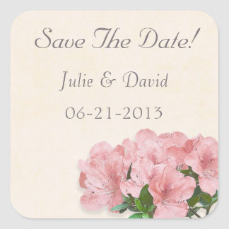 Pink Azalea Flowers & Frame Save The Date Wedding Square Sticker