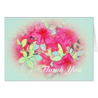 pink azalea flowers in light blue thank you card