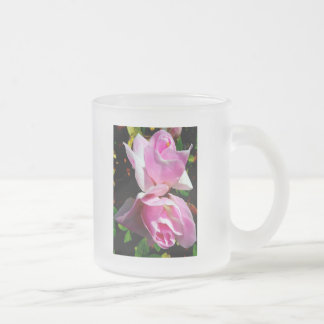 Pink Azalea Frosted Glass Coffee Mug