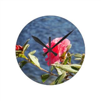 Pink Azalea with Blue Lake Background Clocks