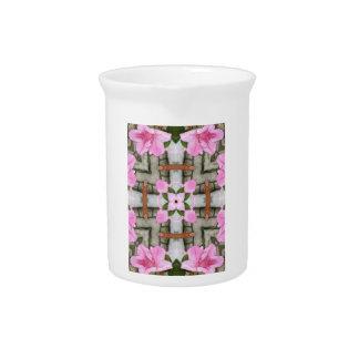 Pink Azaleas 1E kaleidoscope10 Beverage Pitcher