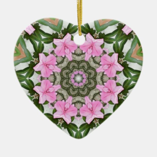 Pink Azaleas 1E kaleidoscope11 Ceramic Ornament