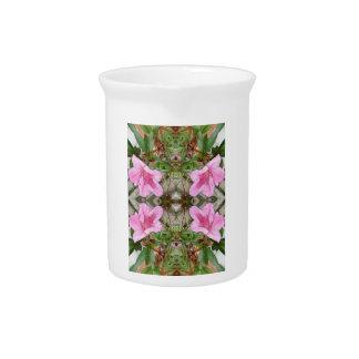 Pink Azaleas 1E kaleidoscope 3 Beverage Pitcher