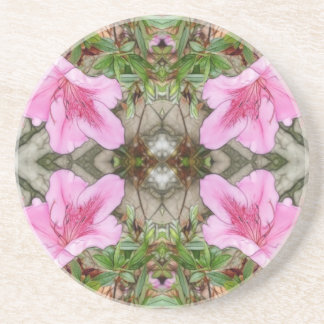 Pink Azaleas 1E kaleidoscope 3 Coaster