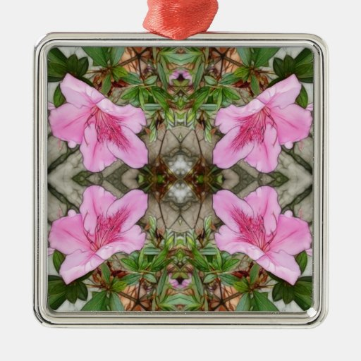 Pink Azaleas 1E kaleidoscope 3 Square Metal Christmas Ornament