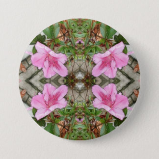 Pink Azaleas 1E kaleidoscope 3 Pinback Button