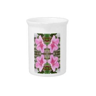 Pink Azaleas 1E kaleidoscope 6 Beverage Pitcher