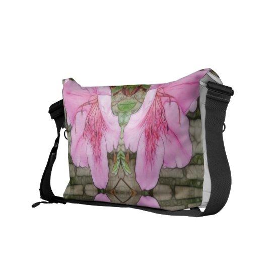 Pink Azaleas 1E kaleidoscope 6 Courier Bag