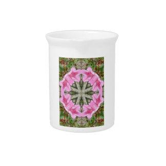 Pink Azaleas 1E kaleidoscope 8 Beverage Pitcher