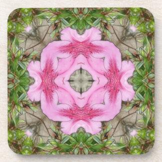 Pink Azaleas 1E kaleidoscope 9 Drink Coaster
