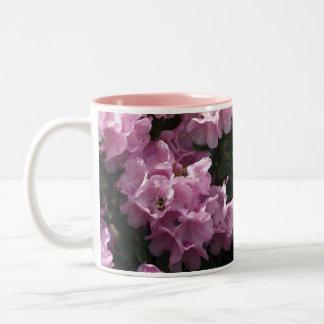 Pink Azaleas & Bee, Rhododendron Garden Flowers Two-Tone Coffee Mug