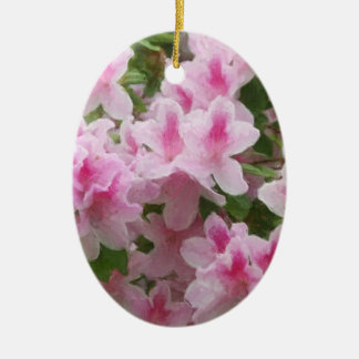 Pink Azaleas Painterly Ceramic Ornament