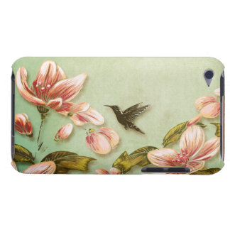 Pink Azaleas Vintage Floral on Green Mist Barely There iPod Cases