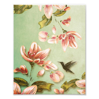 Pink Azaleas Vintage Floral on Green Mist Photograph