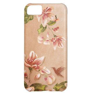 Pink Azaleas Vintage Floral on Whiskey iPhone 5C Covers