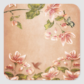 Pink Azaleas Vintage Floral on Whiskey Square Sticker