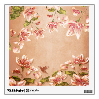 Pink Azaleas Vintage Floral on Whiskey Wall Decor