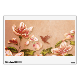 Pink Azaleas Vintage Floral on Whiskey Wall Graphics