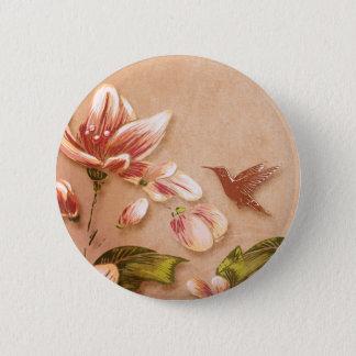 Pink Azaleas Vintage Floral on Whiskey Wedding Button
