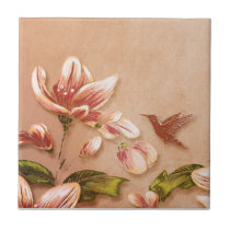 Pink Azaleas Vintage Floral on Whiskey Wedding Ceramic Tile