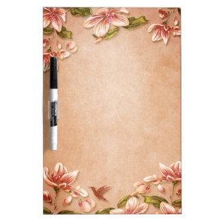 Pink Azaleas Vintage Floral on Whiskey Wedding Dry-Erase Boards