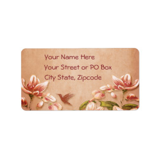 Pink Azaleas Vintage Floral on Whiskey Wedding Label