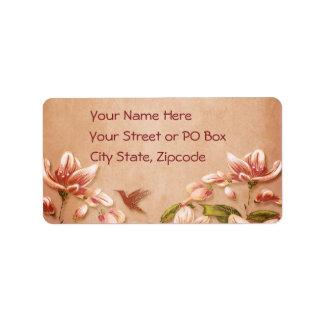 Pink Azaleas Vintage Floral on Whiskey Wedding Label