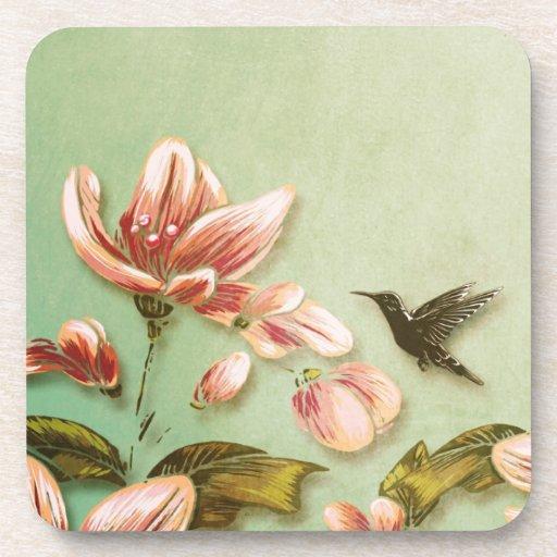 Pink Azaleas Vintage  on Green Mist Beverage Coaster