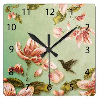 Pink Azaleas Vintage  on Green Mist Square Wall Clocks