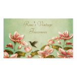 Pink Azaleas Vintage  on Green Mist Retro Double-Sided Standard Business Cards (Pack Of 100)