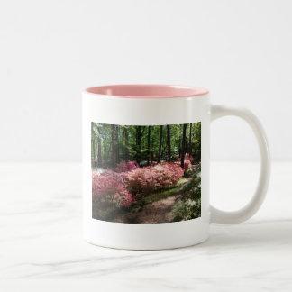 Pink Azaleas Woodland Path Two-Tone Coffee Mug