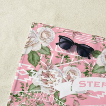 Aztec Themed Pink Aztec Trellis Rose Pattern Name or Quote Beach Towel