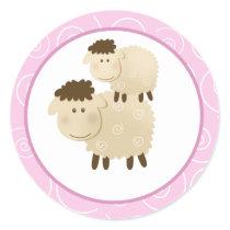 Pink Baa Baa Sheep Envelope Seals / Toppers 20
