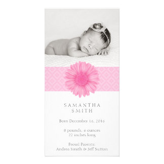 Pink Baby announcement photo card