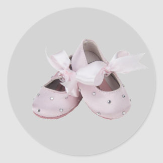 Pink Baby Ballet Shoes Classic Round Sticker