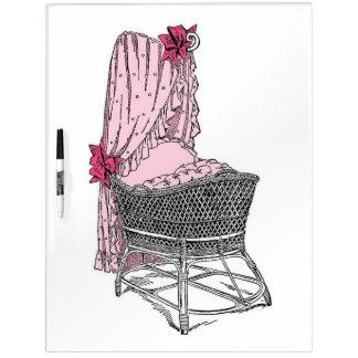 Pink Baby Bassinet Dry Erase Board
