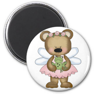 Pink Baby Bear Fairy 2 Inch Round Magnet