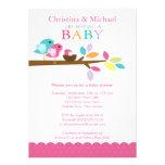 Pink Baby Bird Nest Baby Shower Invitations