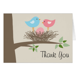 Pink Baby Bird's Egg & Nest Thank You Card