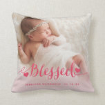 "Pink Baby Birth Photo Keepsake Pillow<br><div class=""desc"">Blessed 