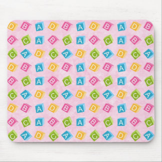 Pink Baby Blocks On Textured Background Mouse Pad