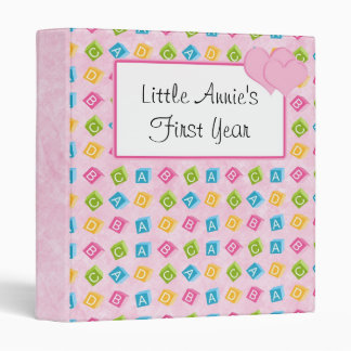 Pink Baby Blocks With ABC'S 3 Ring Binder