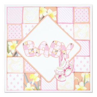 Pink Baby Booties Patchwork Baby Girl Shower Card