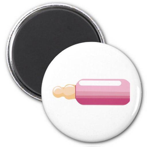 Pink-Baby Bottle New Baby Girl 2 Inch Round Magnet