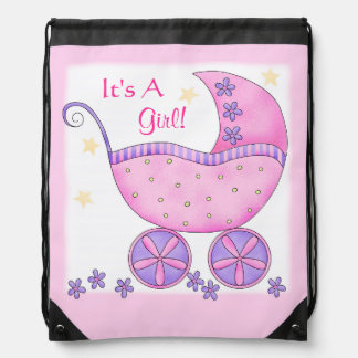 Pink Baby Buggy Carriage It's A Girl Shower Drawstring Bag