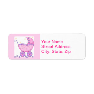 Pink Baby Buggy Carriage Shower Customized Label