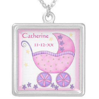 Pink Baby Buggy Commemorative Name Birthdate Jewelry