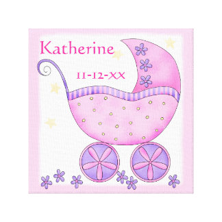 Pink Baby Buggy Girl Name Birth Date Art Canvas Print